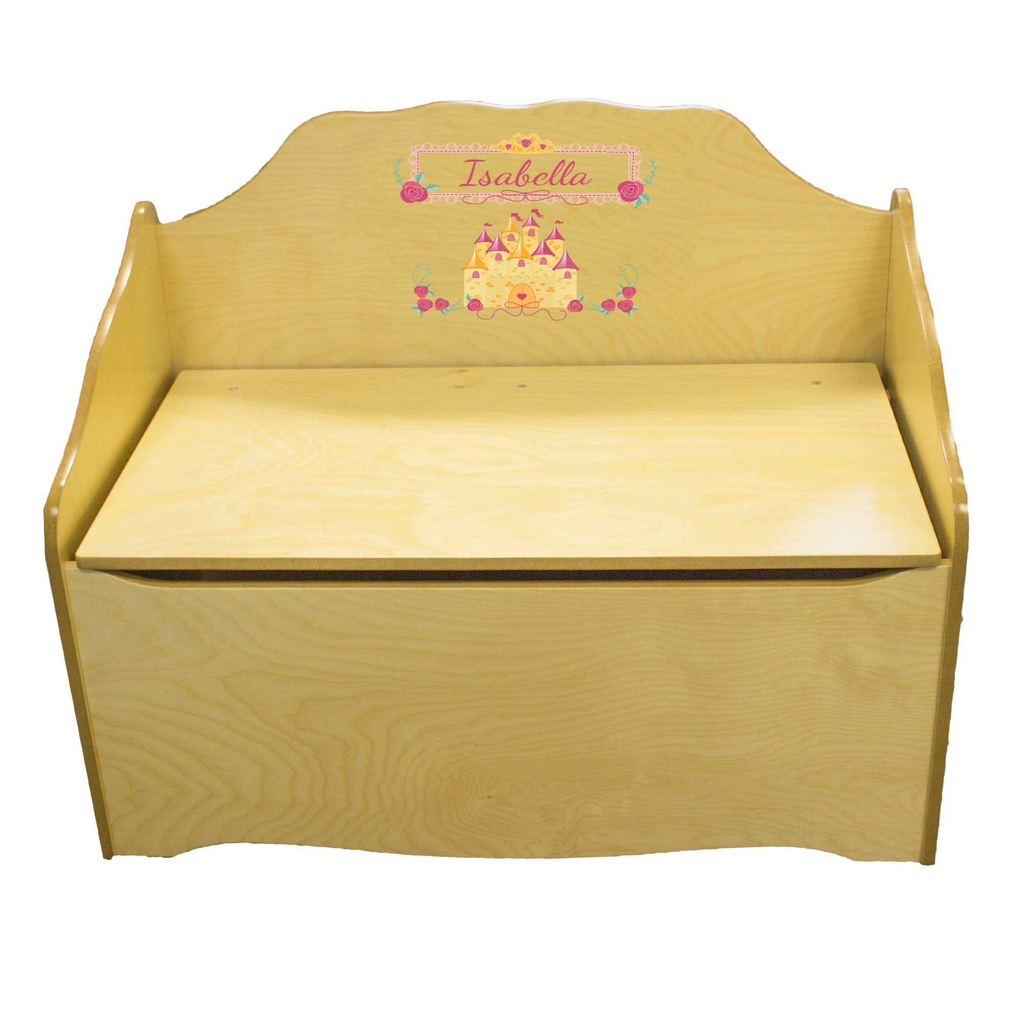 Personalized Beautys Castle Childrens Natural Wooden Toy Chest
