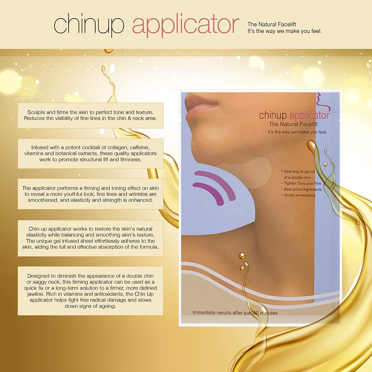 Ultimate Chin up Applicator, Face Wrap. It Works for Double Chin Reduction, Chin & Neck Slim, Shape and Firming. Box 5 Wraps (Masks) : Facial Treatment Products : Beauty