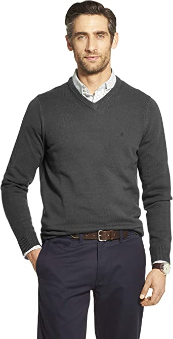 IZOD Mens Premium Essentials Solid V-Neck 7 Gauge Sweater