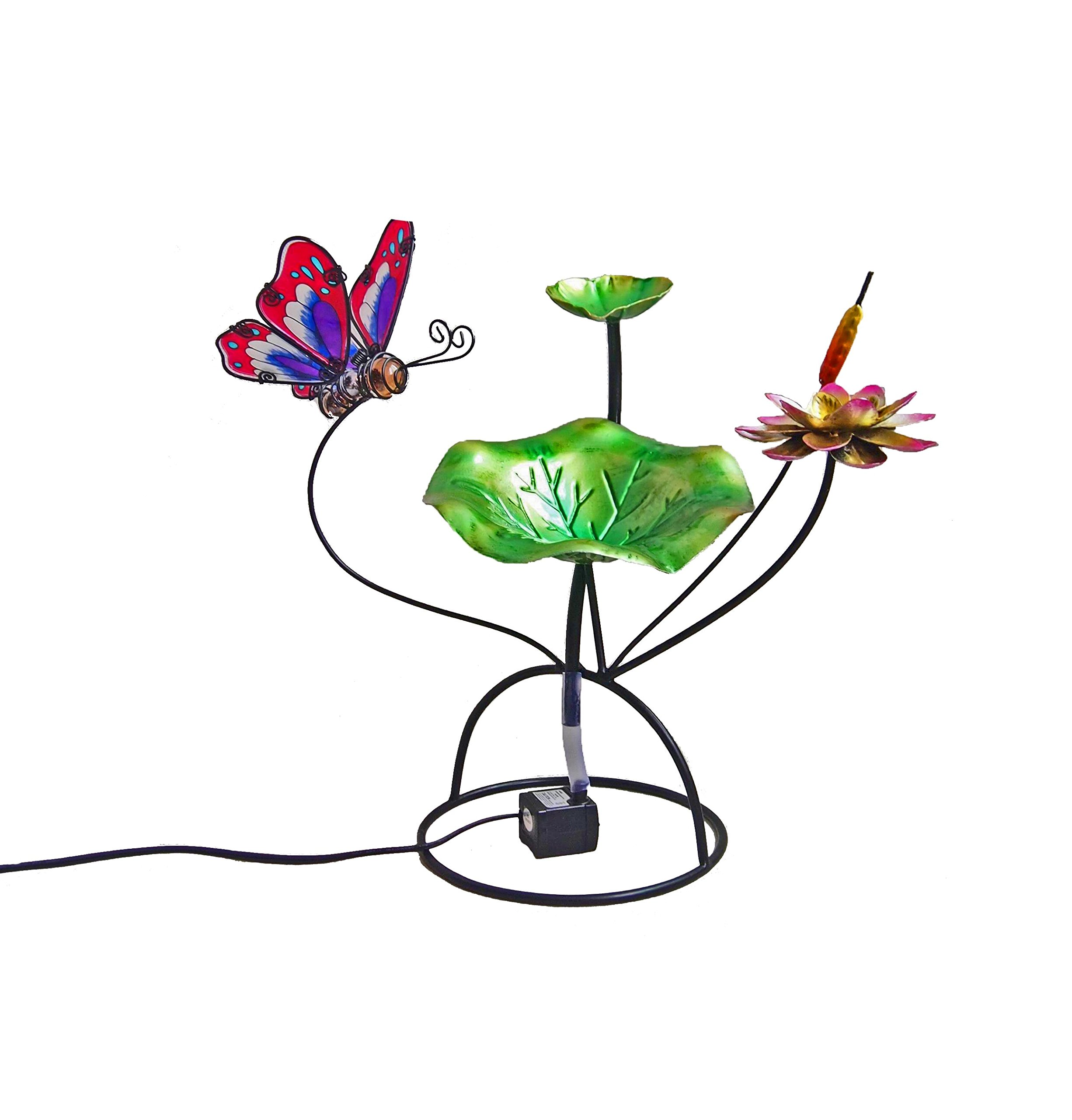Continental Art Center Metal and Glass Butterfly Fountain, 18 by 18 by 13-Inch
