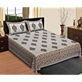 Shree Krishnam Art Cotton Bedsheet For Double Bed With 2 Pillow Covers