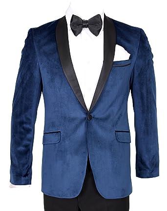 b283e27e0190 Giangiulio - Sapphire Blue Velvet Dinner Jacket/Suit with Satin Lapel:  Amazon.co.uk: Clothing