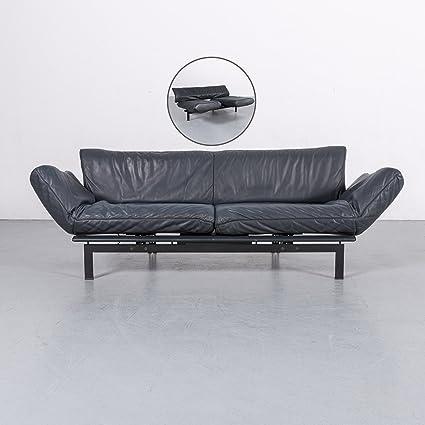 De Sede DS 140 Leder Sofa Grau Blau Dreisitzer Couch Funktion Echtleder  #5938