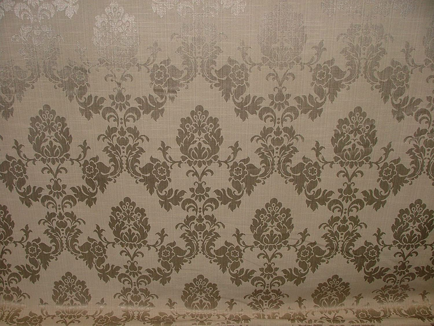 BROWN DUCK EGG Designer Brocade Damask Fabric Curtains Upholstery Cushion Blinds