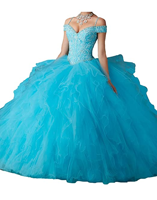 19ed95397f8 Jianda Women s Off Shoulder Spagetti Prom Gowns Beads Vestidos 15 Quinceanera  Dresses 0 US Turquoise