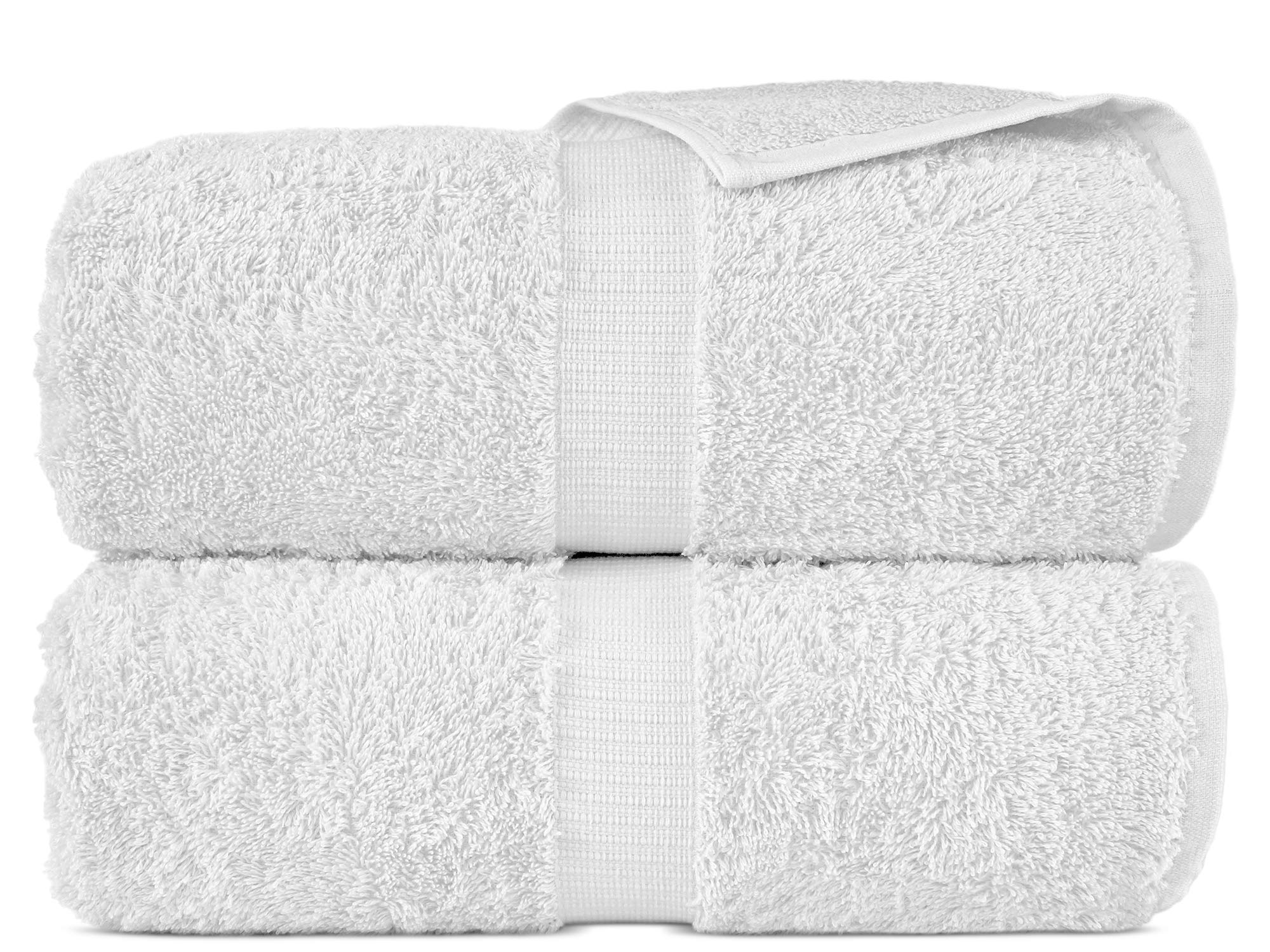 100% Luxury Turkish Cotton, Eco-Friendly, Soft and Super Absorbent 35'' x 70'' Large Bath Sheets (White, Set of 2)