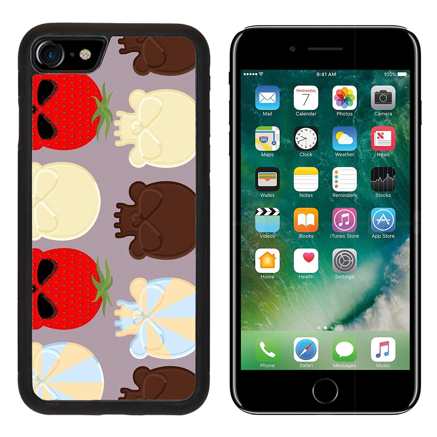 Luxlady Apple iPhone 7 iPhone 8 Aluminum Backplate Bumper Snap iphone7/8 Case ID: 43128818 Sweet candy skulls seamless pattern Head skeleton made of chocolate and strawb
