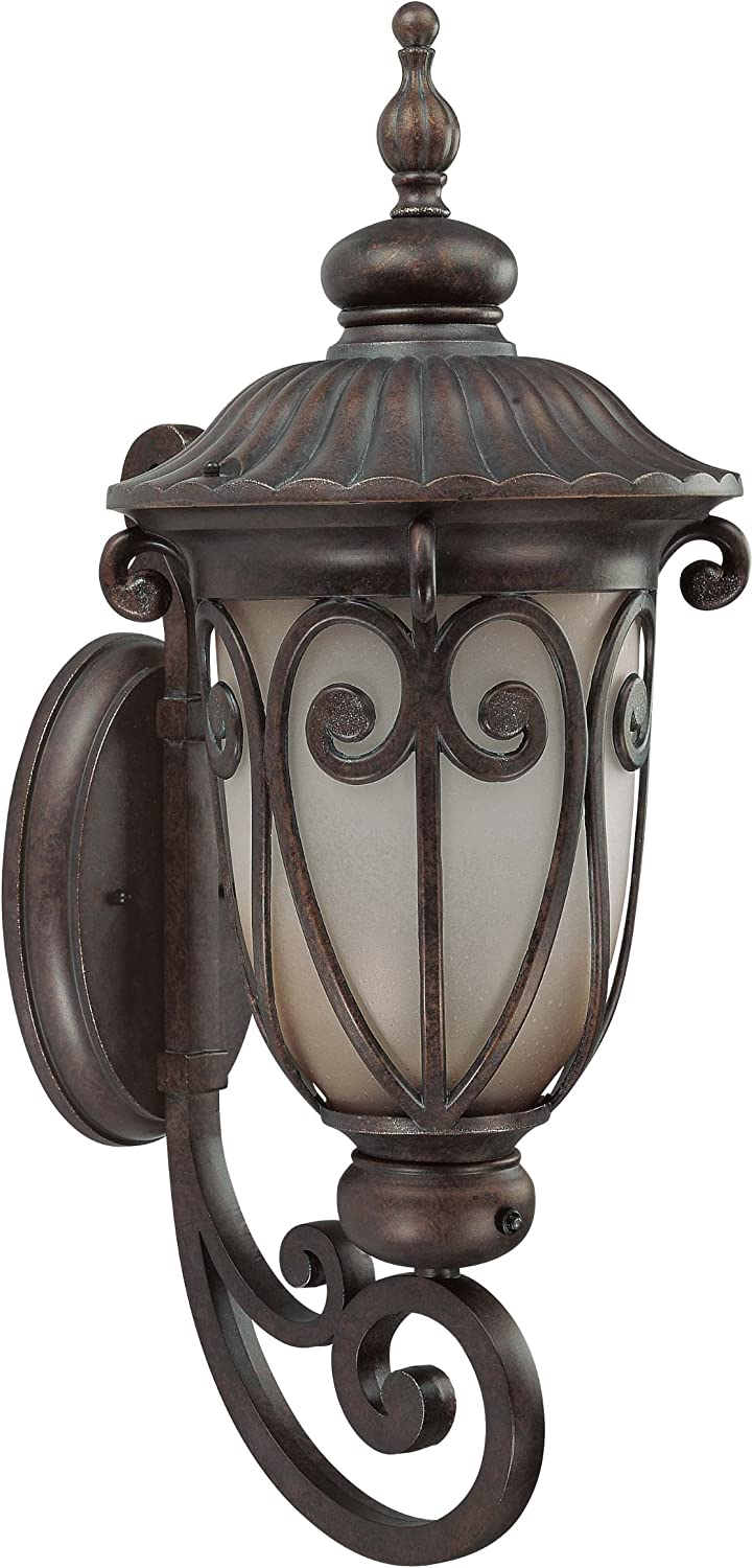 B0032Z71UM Nuvo Lighting 60/3921 Corniche Outdoor Large Wall Lantern Arm Up with Photocell, Frosted Wheat Glass, Burlwood Bronze 81dgu1wP18L