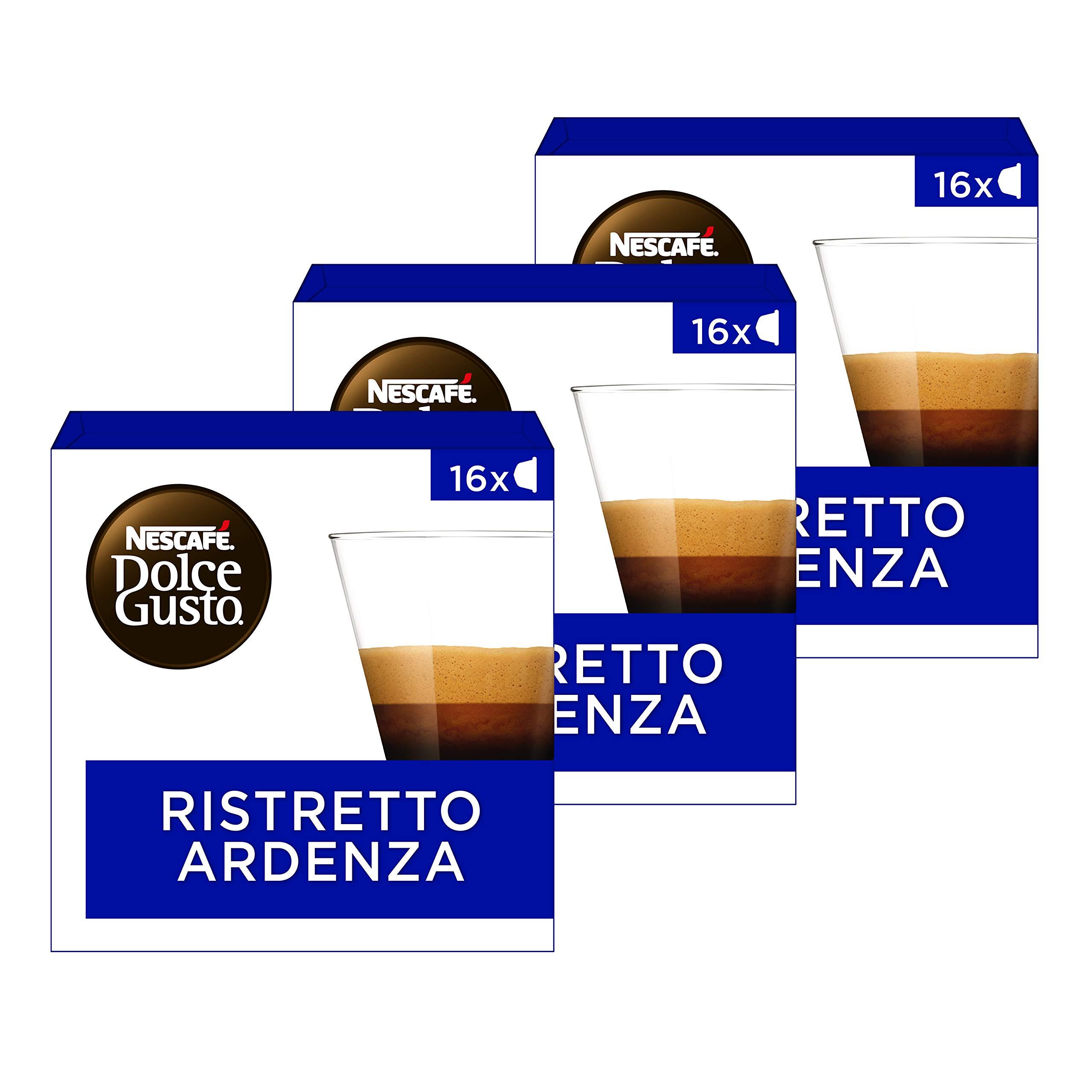 Nescafé Dolce Gusto Espresso Ristretto Ardenza, 3 Pack, Strong, 3 x 16 Coffee Capsules, 48 Servings Combined