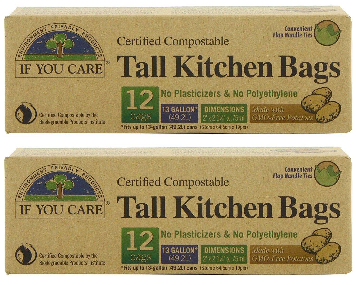 IF YOU CARE Certified Compostable Tall Kitchen Bags, 12 Count (Pack of 2)
