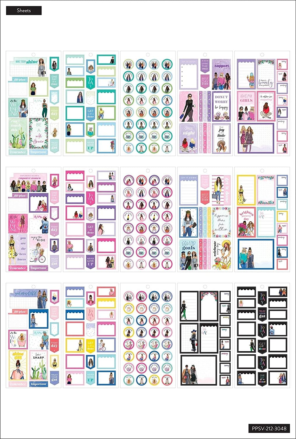 Rongrong Collection 570 Stickers Multicolor Everyday Theme Scrapbooks /& Albums Great for Journals Scrapbooking Supplies The Happy Planner Value Pack Sticker Sheets