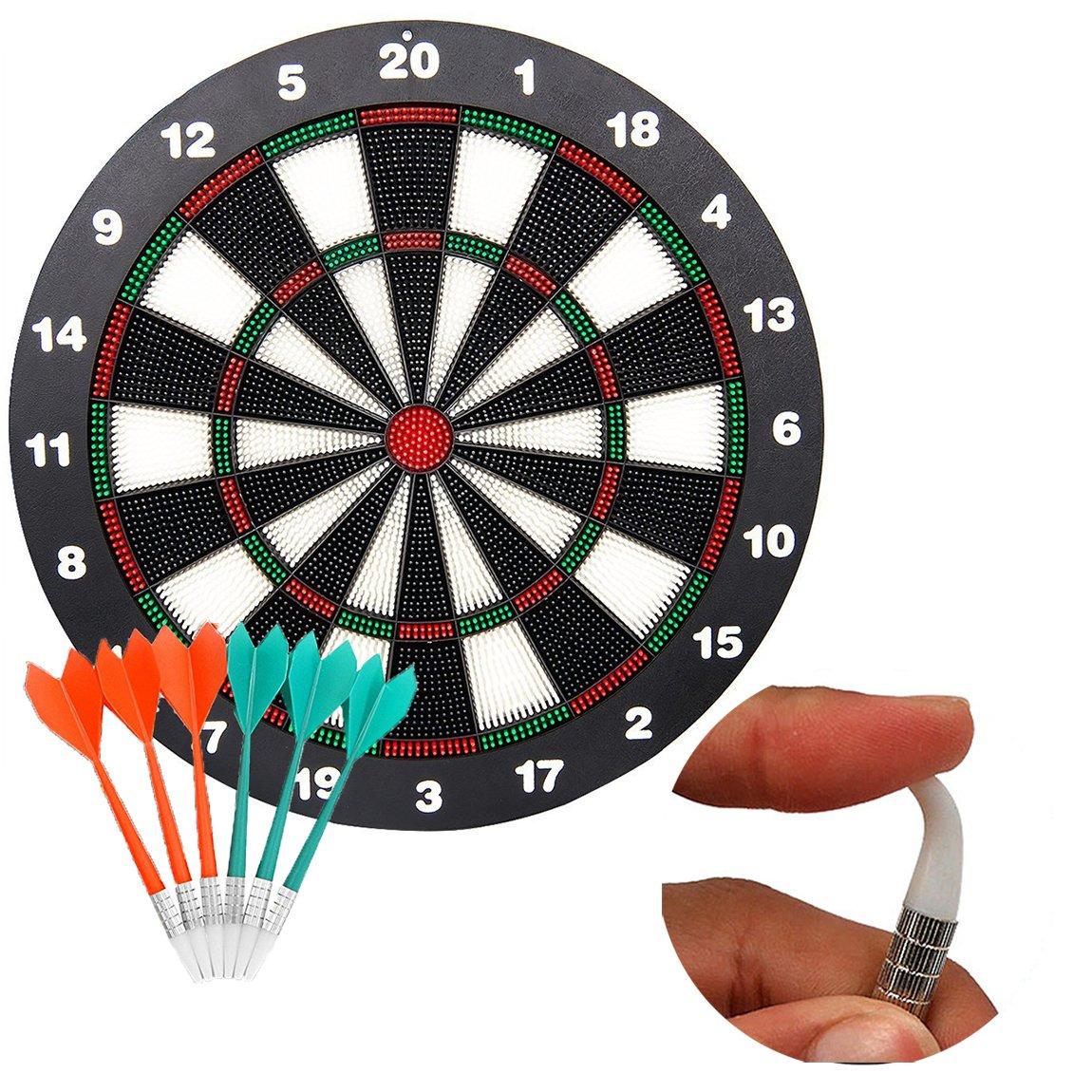 Professional Dartboard set con 6pcs sicuro punta morbida freccette /Great Games for Kids children Punta morbida sicurezza freccette e freccette/