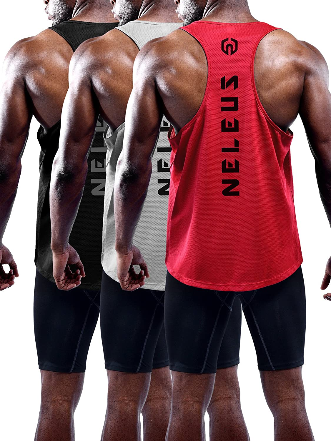 Neleus Men's 3 Pack Dry Fit Y-Back Muscle Tank Top