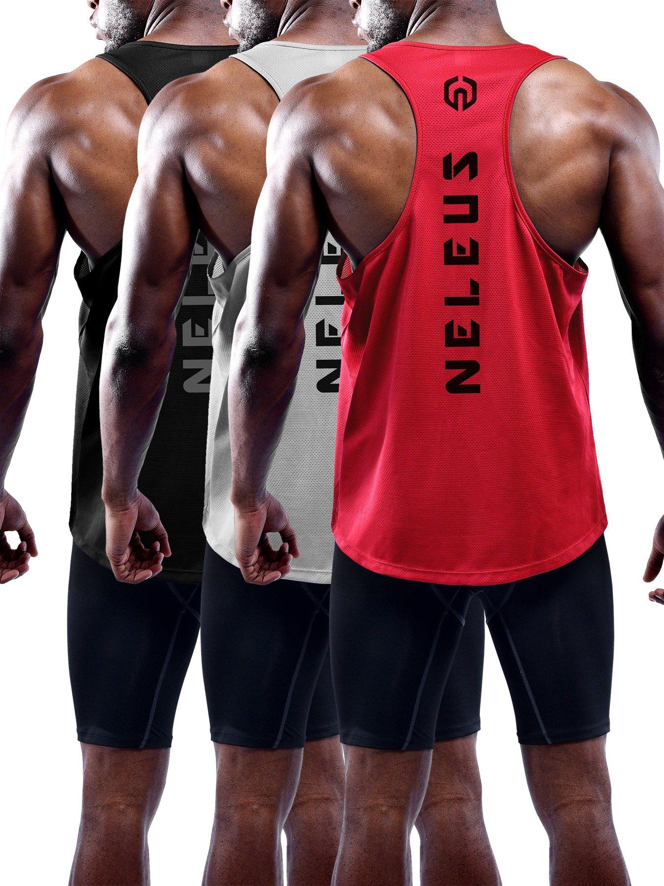 Neleus Men's 3 Pack Dry Fit Athletic Sleeveless Muscle Tank,5031,Black,Grey,Red,M,EU L