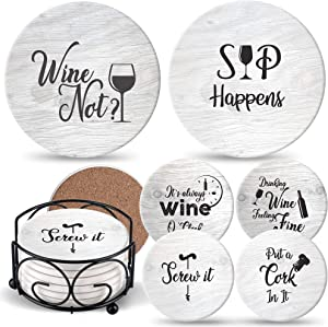 Coasters for Drinks Absorbents with Holder | 6 Pcs Gift Set with 6 Funny Sayings for Wine Lovers | Ceramic Stone with Corked Back, Unique Present for Housewarming, Living Room Decor