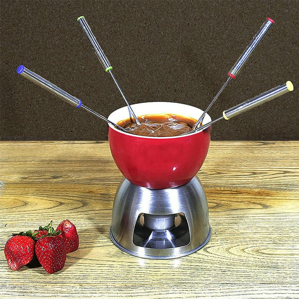 24cm GuDoQi Stainless Steel Fondue Forks Heat Resistant Oak Wooden Handle Roasting Sticks Marshmallow Fruit Chocolate Fountain Cheese Forks Set of 12