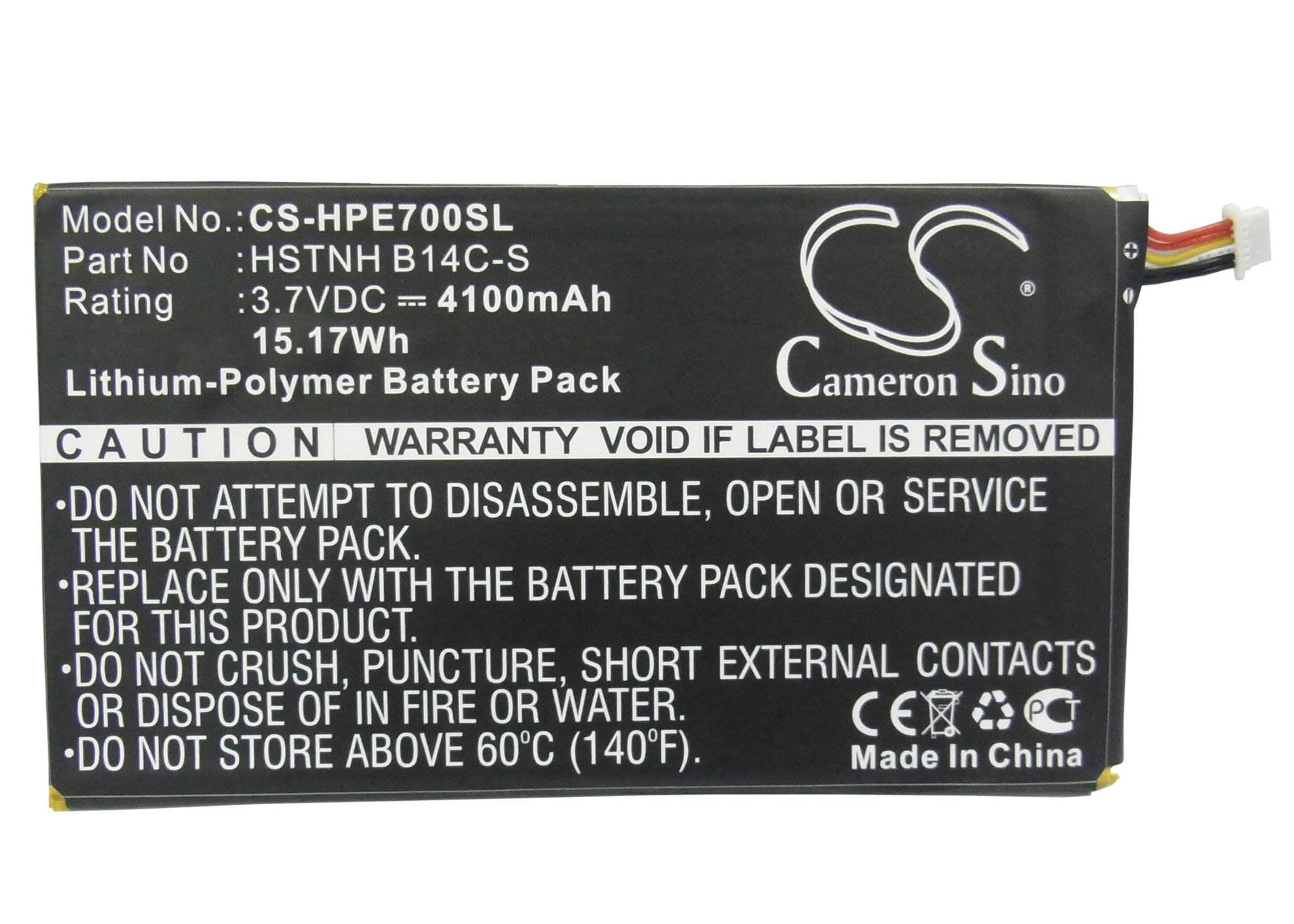 Cameron Sino 4100mAh Li-Polymer High-Capacity Replacement Batteries for HP Tablet 7 1800, Slate 7 1800 Tablet, fits HP 10979176-00, 739691-001, HSTNH B14C-S, WD3870127P