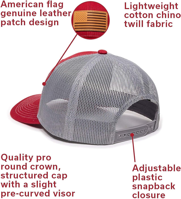 Heather GreyWhite Mesh Amerigun Flag Leather Patch Hat