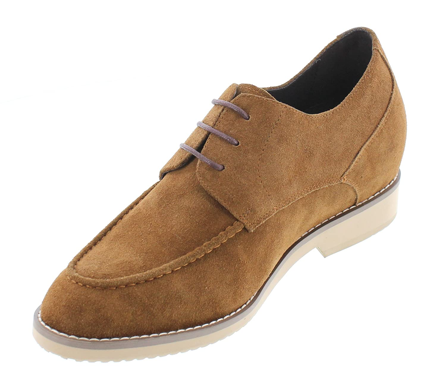 T66092-2.8 inches Taller - height Increasing Elevator Shoes - Nubuck Tobacco Lace-up Dress Shoes