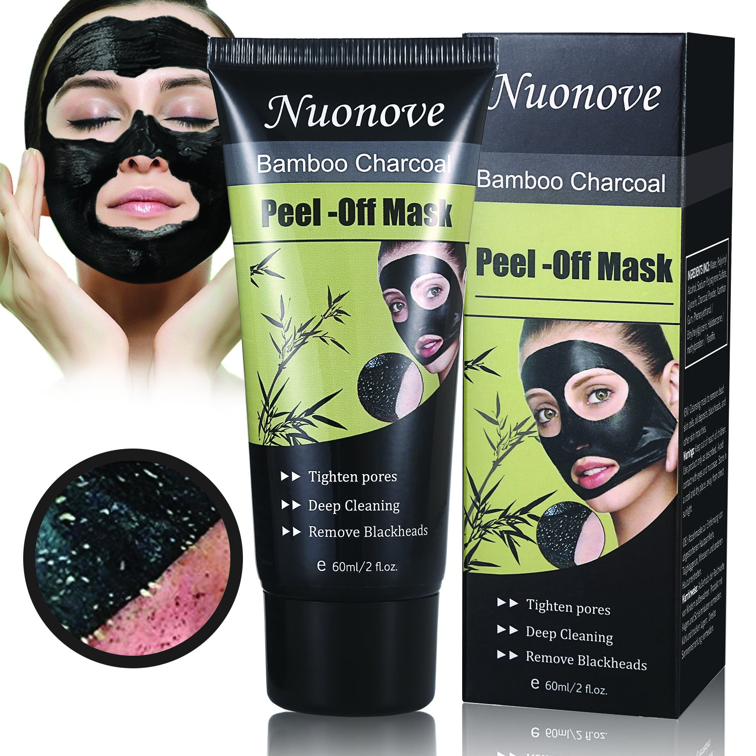 Charcoal Peel Off Mask, Black Mask Peel Off, Facial Masks Peel Off, Suction Cleaner Black Mask Tearing Resist Oily Skin Strawberry Nose Purifying Deep Cleansing (Mask) ToullGo Store