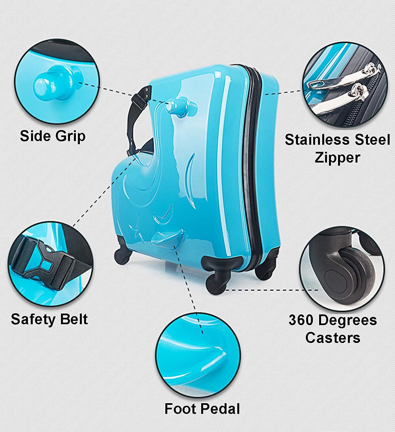 AOWEILA Luggage-Ride On Suitcase Unisex Ride Roll-Functional Suitcase Fashion Style Travel 20 inch
