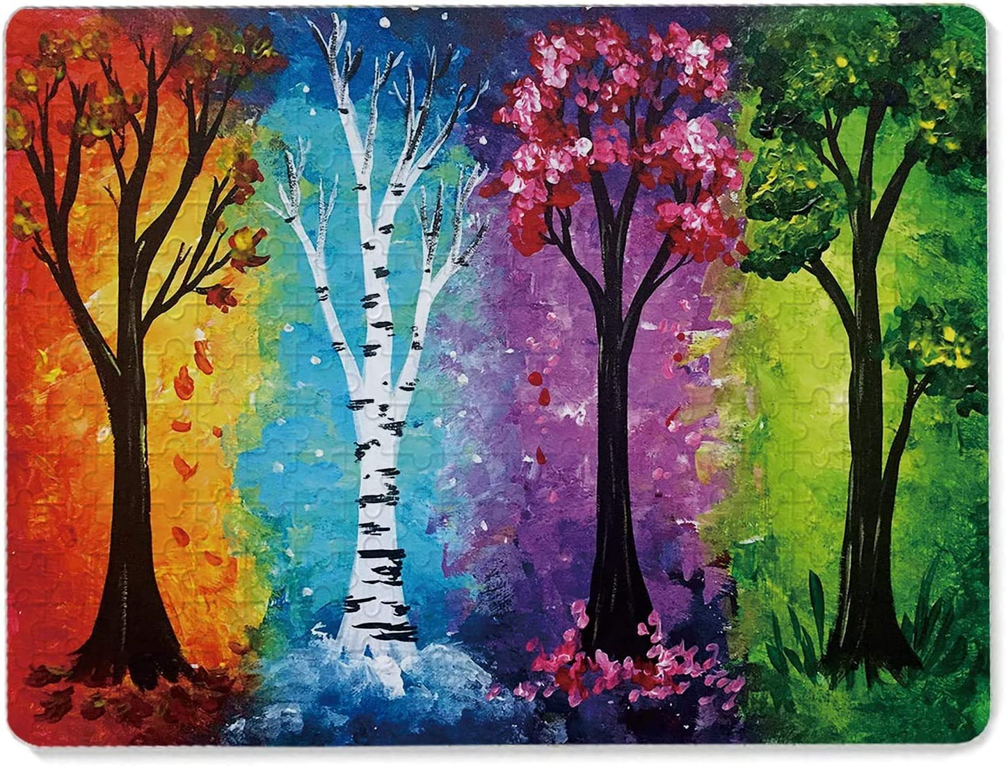 Jigsaw Puzzle 1000 Pieces,Four Season Tree Puzzles for Adults Kids Wood Jigsaw Puzzles,Wall Decor