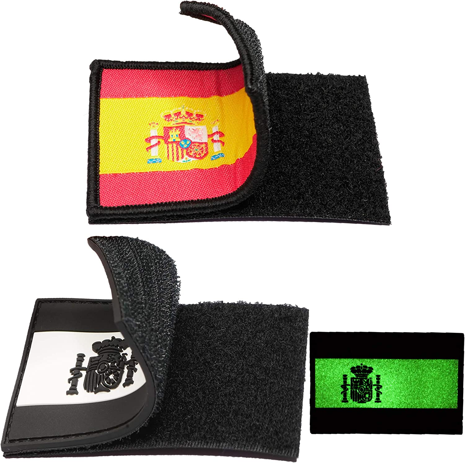 2 Parches bordados bandera España con Velcro - Color y Fluerescente - Escudos bordados - 2 Insignias - Parches Militares - 75 x 50 mm: Amazon.es: Hogar