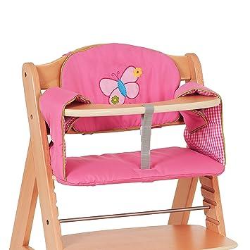Hauck Comfort Butterfly - Cojín para trona, funda de 2 piezas transpirable, medidas 30 x 30 cm y 47 x 25 cm, estampado rosa