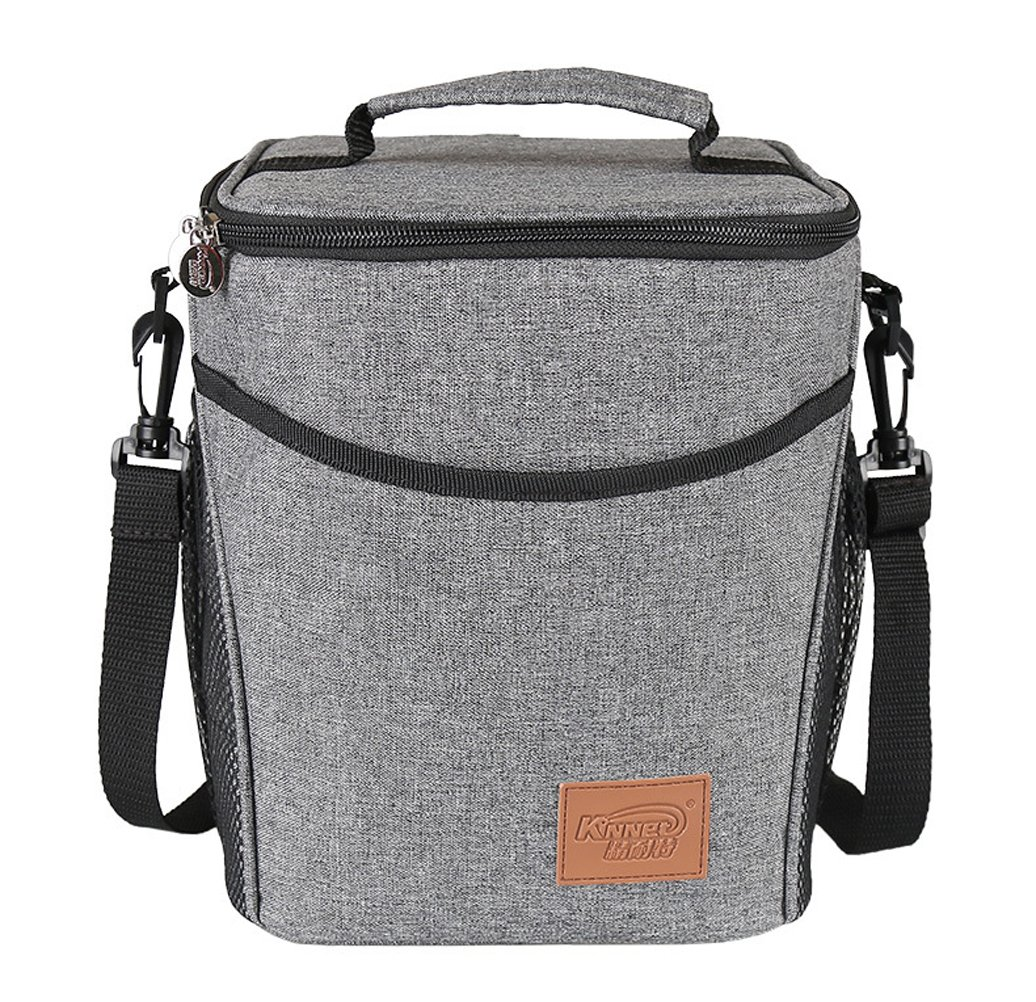 UNIQME Insulated Lunch Box Cooler Bag for Women Men Adults & Kids 9L Large Lunch Bag Bento for Camping Grey U-7
