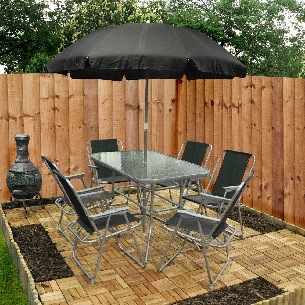 6 Person Garden Furniture Patio Set Table, 6 Chairs U0026 Parasol