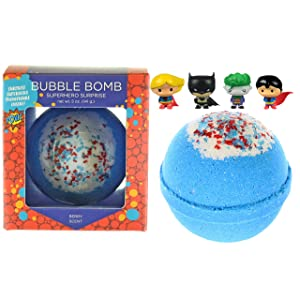 Superhero Bubble Bath Bomb for Kids with Surprise Superhero Toy Inside by Two Sisters Spa. Large 99% Natural Fizzy in Gift Box. Moisturizes Dry Sensitive Skin. Releases Color, Scent, and Bubbles.