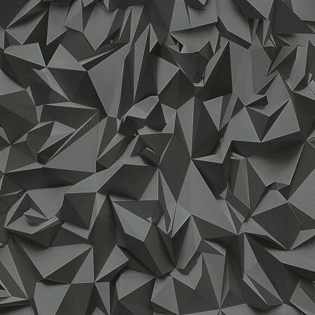 3D Effect Black Silver Futuristic Metallic Vinyl Wallpaper