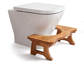 Amazon.com: A&A Wood Step Toilet Stool - Bamboo Toilet Chair ...