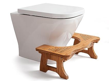 Au0026A Wood Step Toilet Stool   Bamboo Toilet Chair   Squatting Bathroom Stool    7u201d
