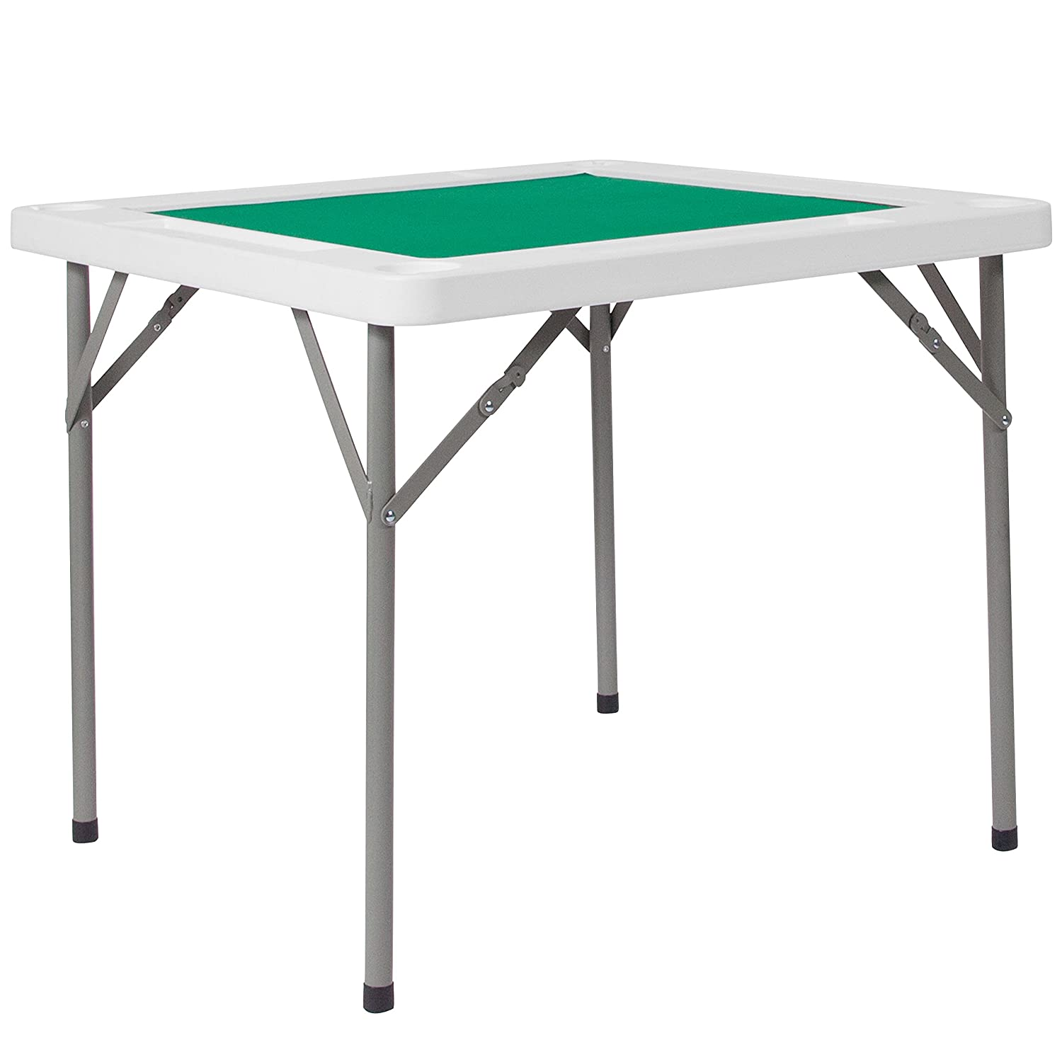 Flash Furniture 34.5'' Square Granite White Folding Game Table with Green Playing Surface DAD-MJZ-88-GG