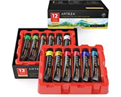 Arteza Watercolor Paint, Set of 12 Colors/Tubes, 12 x 12ml/0.4 oz with Storage Box, Rich Pigments, Vibrant and Non Toxic Pain