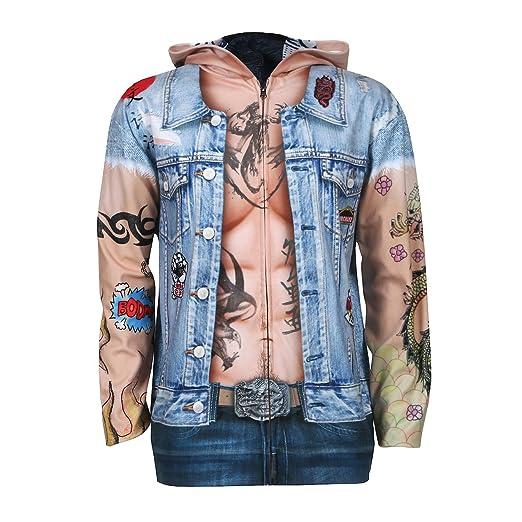 Creative Apparel Concepts Unisex Adult Tattooed Biker Zip-Up Hoodie - XL