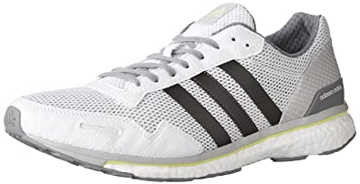 new arrival 890d6 b22af adidas Men s Adizero Adios m Running Shoe, White Trace Grey Metallic Solar  Yellow