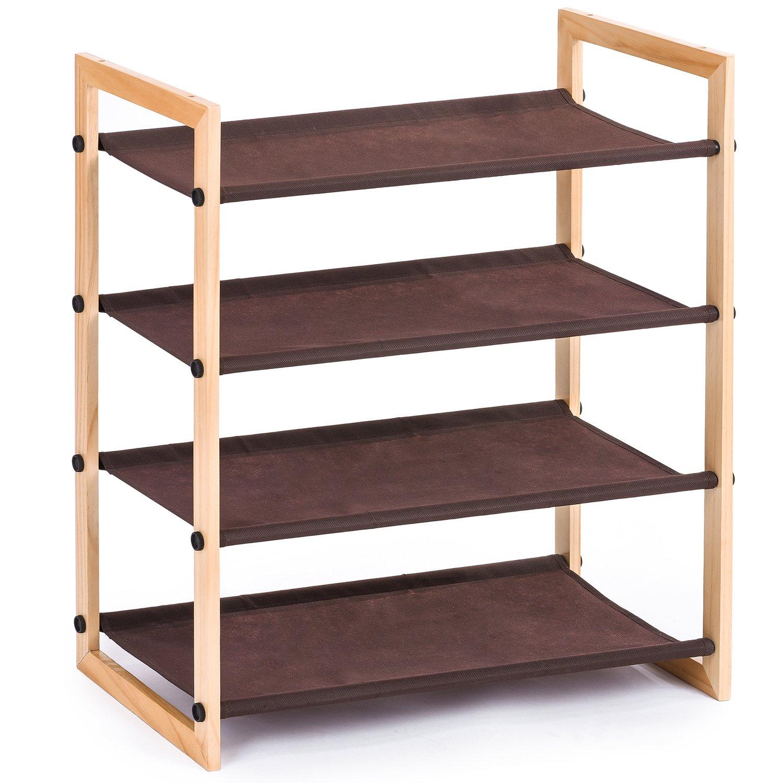 Amazon MaidMAX 4 Tiers Stackable Wooden Shoe Rack Shelf for 12
