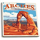 Arches National Park, Utah - Delicate Arch - Day Scene (Set of 4 Ceramic Coasters - Cork-backed, Absorbent)