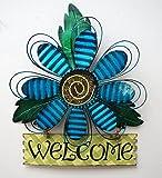 YK Decor Metal Artisannal Daisy Welcome Wall Art (Blue)