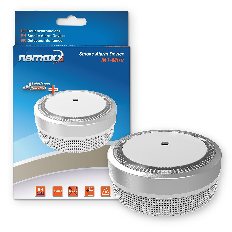 12x Nemaxx Detector de Humo M1-Mini Plateado - sensibilidad fotoeléctrica - Certificado VDS y con batería de Litio Tipo DC3V - Conforme la Norma DIN EN14604 ...