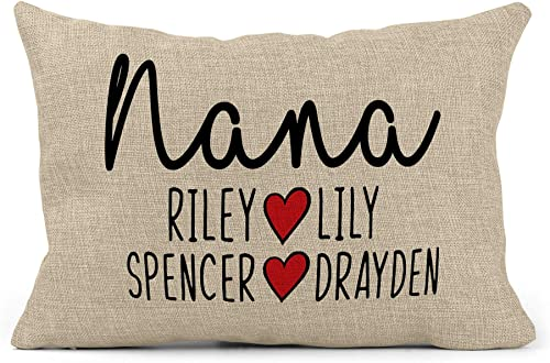 GLAM Grandma Pillow Grandpa Pillow Personalized Grandma Birthday Gifts Gifts for Mom I Customized Pillow I Grandma Gifts from Grandchildren I Blessed Pillow I Grandmother Pillow I 12 X 18