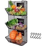 X-cosrack Metal Wire Basket Wall Mount, 3 Tier Wall Storage Basket Organizer with Hanging Hooks Chalkboards, Rustic Kitchen F