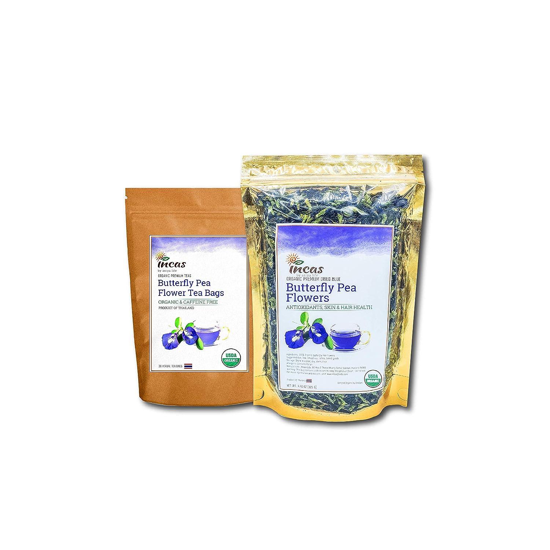 Incas 100% USDA Organic Butterfly Pea Flower Tea Bundle Loose Leaf 4.41 Ounce & 30 Tea Bags Sourced From Thailand, Caffeine Free