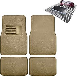 TLH Carpet Car Floor Mats Univesal Fit with Heel Pad, Beige Color w/Gray Dash Pad