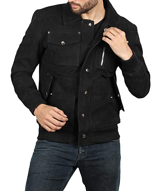 Amazon.com: Chaqueta de cuero marrón para hombre, chaqueta ...