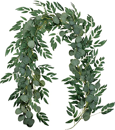Verde Verde 5.9 Blended Faux Silver Dollar Eucalyptus e Willow Vines Ramoscelli Foglie Ghirlanda String Wedding Arch Swag Sfondo Garland Doorways Green Garland Runner Garland Indoor Outdoor