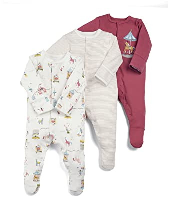 5d101d2b4 Mamas and Papas Baby Girls  Pack of 3 Circus Sleepsuits Sleepsuits ...
