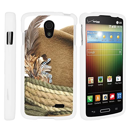 Amazon.com: MINITURTLE Case Compatible w/LG Lucid 3 VS876 White Phone Case, Lightweight Slim Fit Snap on Hard Cell Phone Case Fun Hunting Design Rope and ...